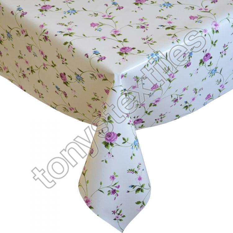 Floral Pink Plastic Vinyl Tablecloth Tonys