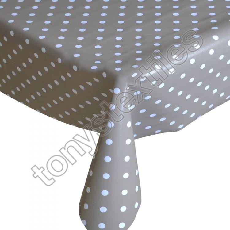 Polkadot Beige White Plastic Vinyl Tablecloth