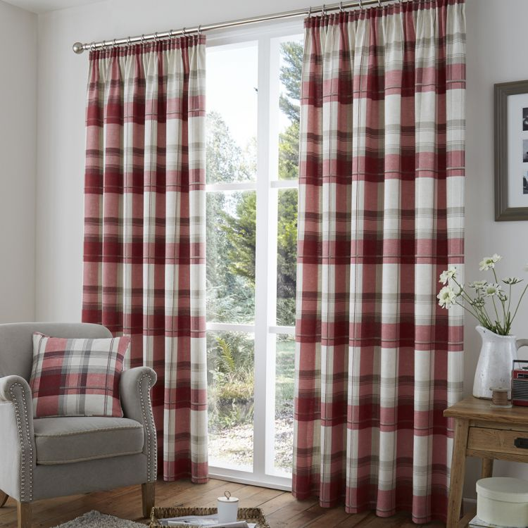 Birkdale Check Lined Tape Top Curtains   Red U0026 Cream