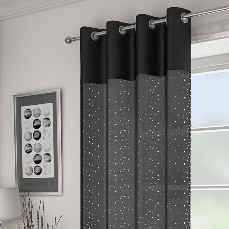 Black Sparkle Glitz Voile Panel Tonys Textiles