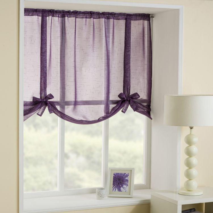 Glitter Purple Tie Up Blind Voile Tonys Textiles