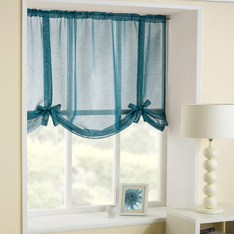 Glitter Teal Tie Up Blind Voile Tonys Textiles