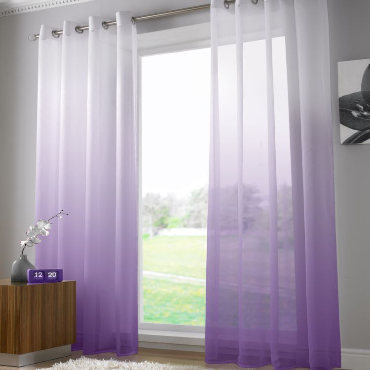 Harmony Purple Voile Curtain Panel Ring Top