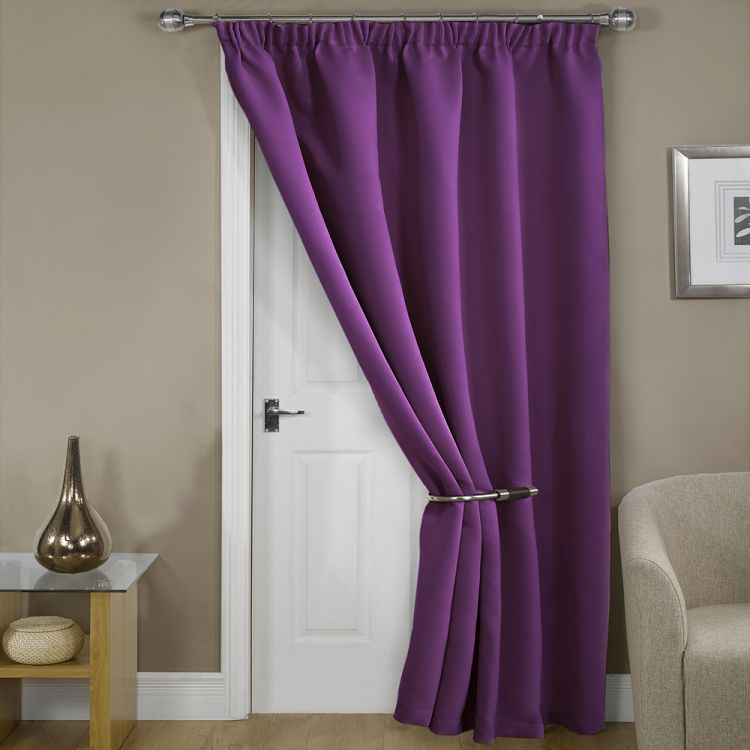 Thermal Supersoft Blackout Door Curtain Purple Hover To Zoom