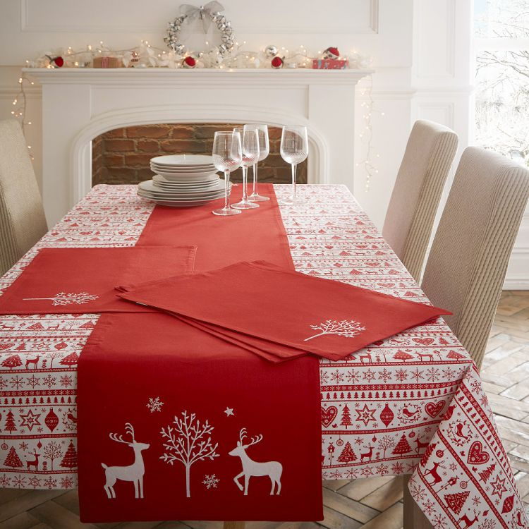 Christmas Noel Red Table Runner Tonys Textiles