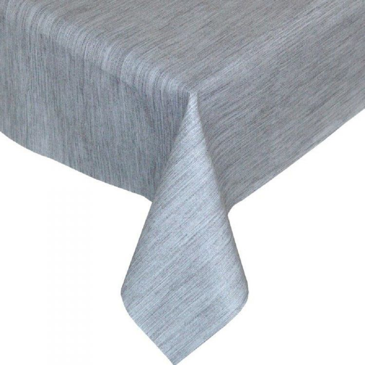 Textured Grey Plastic Vinyl Tablecloth Tonys