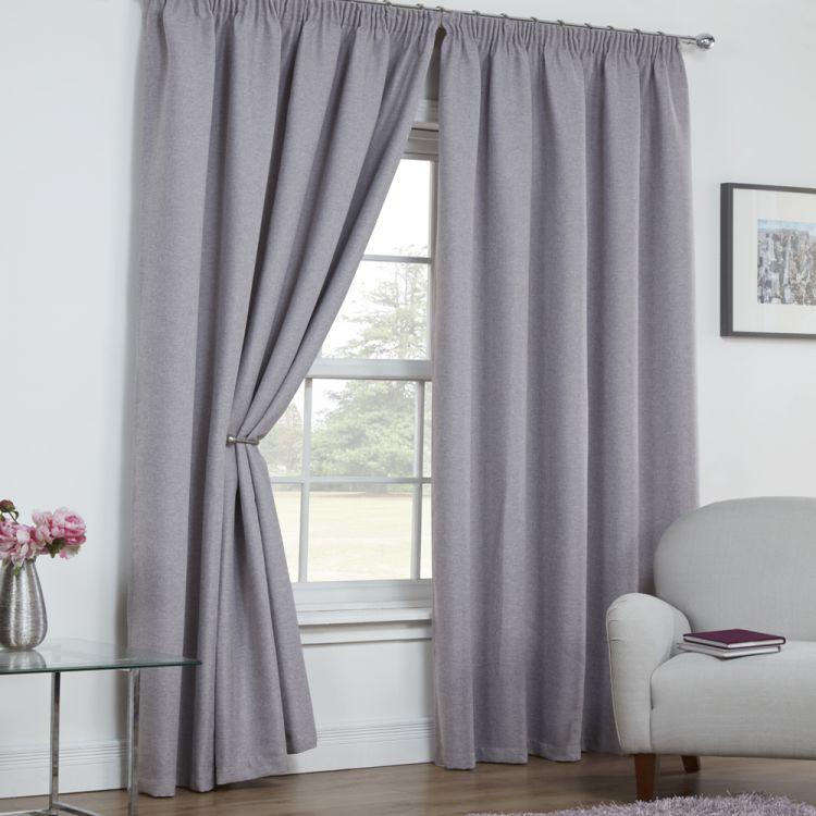 faux silk pencil curtains grey pleat plain curtain