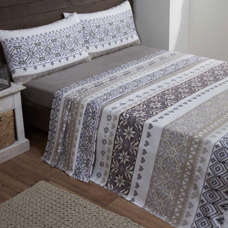 Fairisle | 100% Cotton | Flannelette | Natural | Sheet Set ...