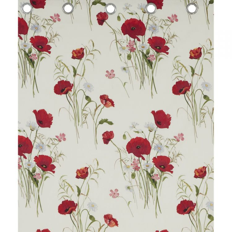 Wild Poppies Red Amp Cream Ring Top Curtains Tonys