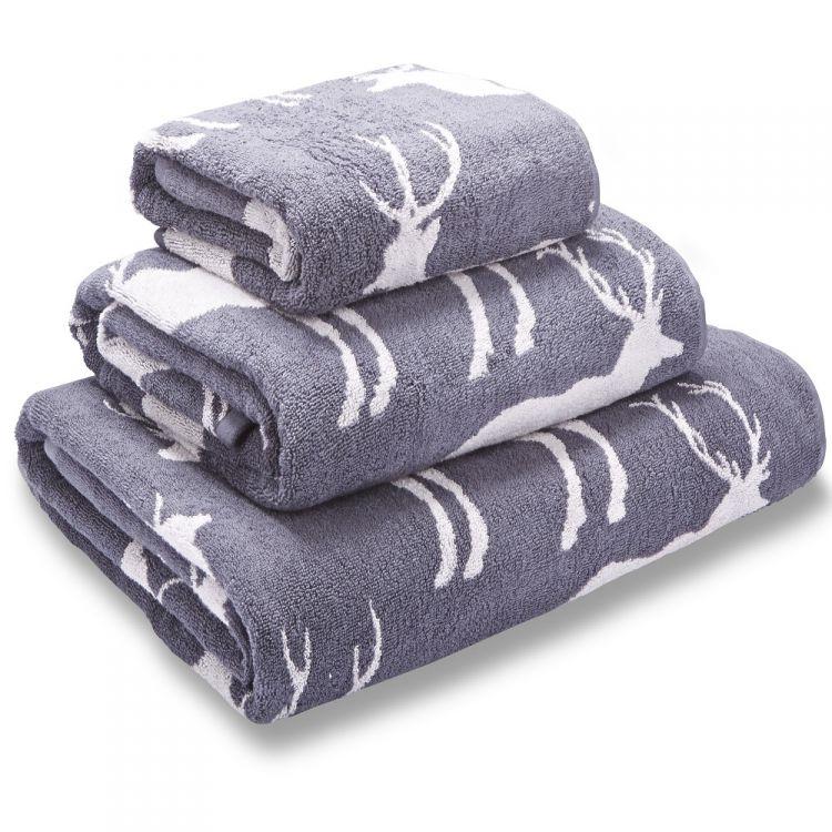 Stag Jacquard Grey Cotton Towel Tonys Textiles