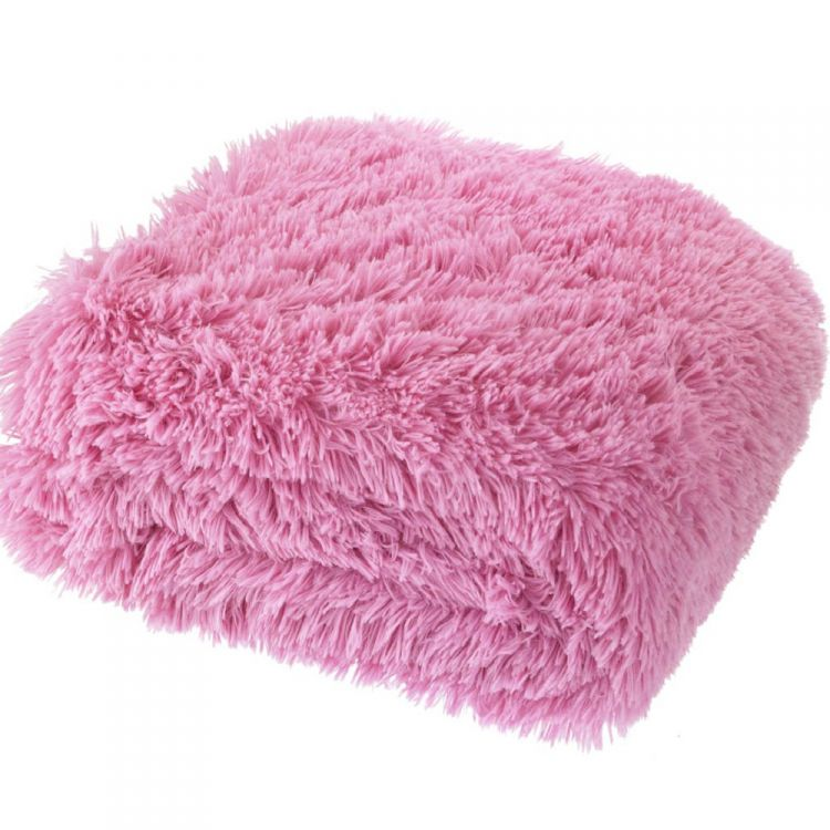Cuddly Fluffy Pink Throw Tonys Textiles