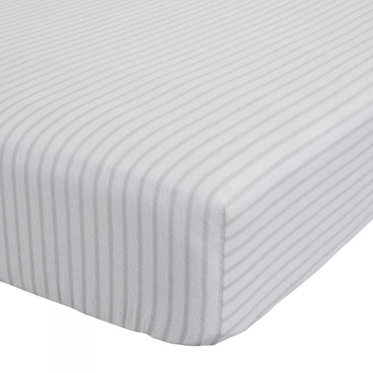 tartan stripe flannelette grey fitted sheet. Black Bedroom Furniture Sets. Home Design Ideas