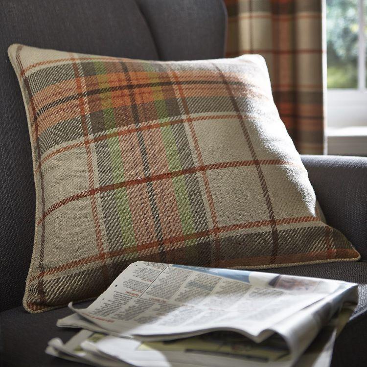 Brushed Heritage Check Burnt Orange Cushion