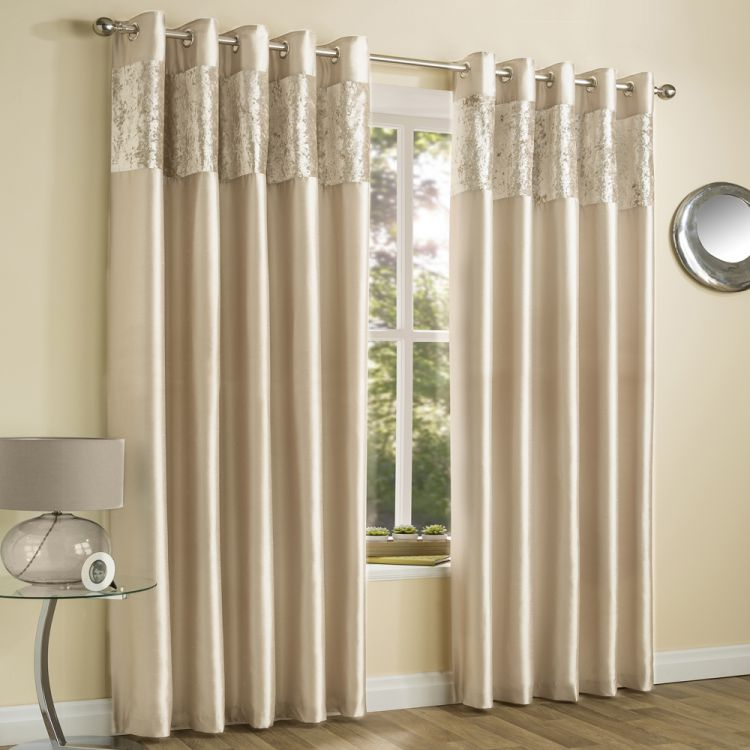 Amalfi Natural Crushed Velvet Eyelet Curtains