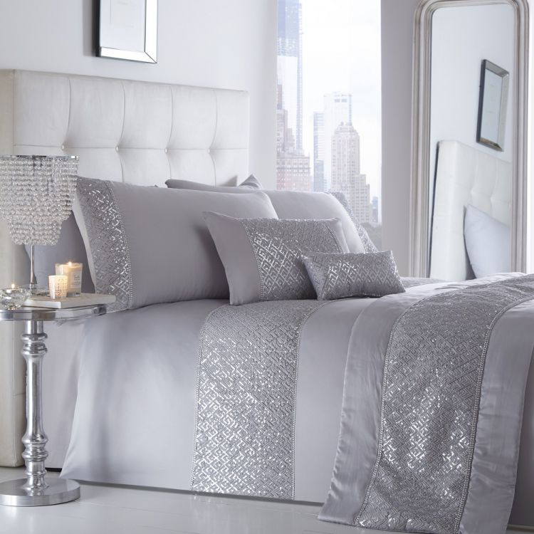 Shimmer Silver Sequin Duvet Cover Set Tonys