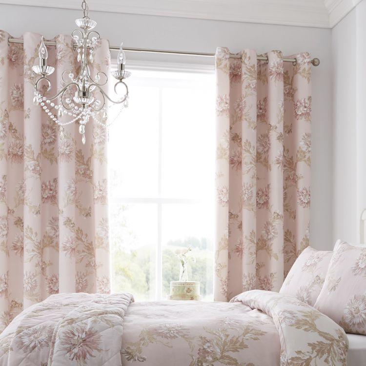 Chrysanthemum Floral Blush Eyelet Curtains Tonys