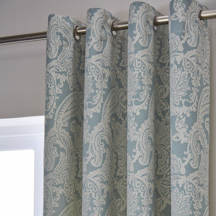 Duck Egg Blue Eyelet Curtains Tonys Textiles