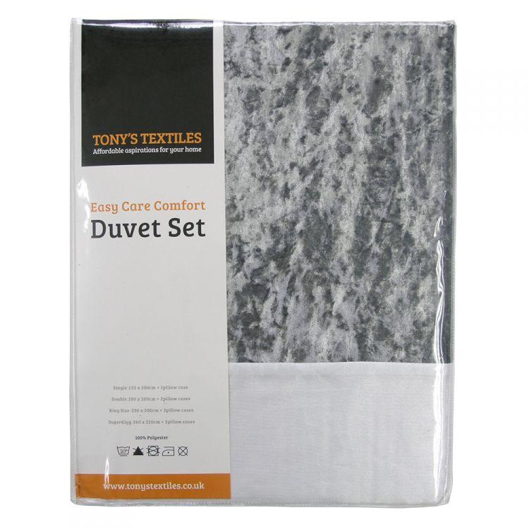 Amalfi White Crushed Velvet Quilt Duvet Cover