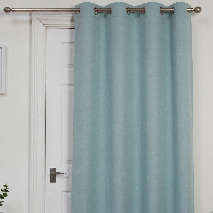 Self Lined Thermal Blackout Linen Look Ring Top Door Curtain