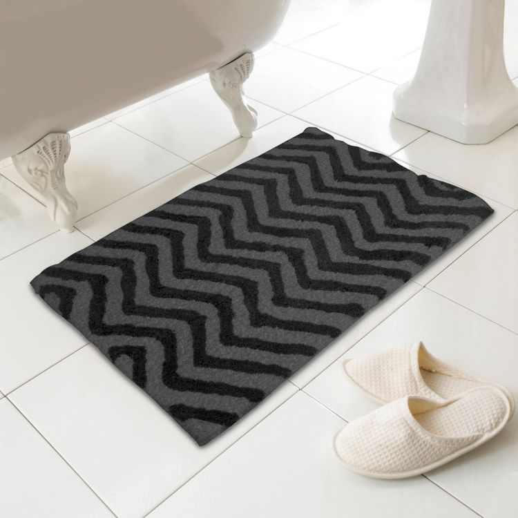 Black And White Chevron Bathroom Rug: Luxury Absorbent Bath Mat/Rug From 100