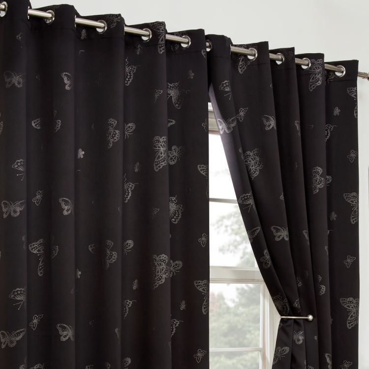 Black Curtains Part - 38: Butterfly Diamante Eyelet Thermal Blackout Curtains - Black