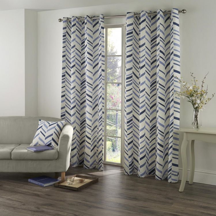 kato chevron eyelet ring top fully lined curtains blue cream