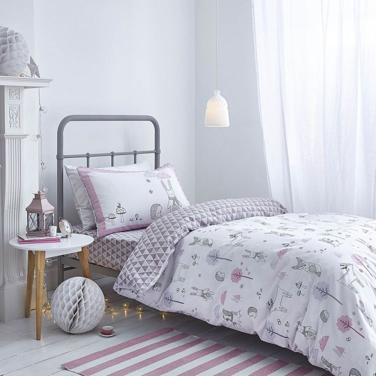 a1ed4ab1536d7 Kids Bianca 100% Cotton Soft Nordic Print Duvet Cover Set - Pink
