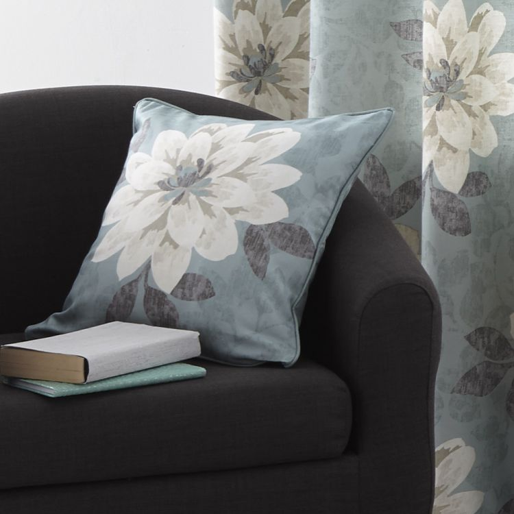 cushion cover floral duck egg blue tonys textiles. Black Bedroom Furniture Sets. Home Design Ideas