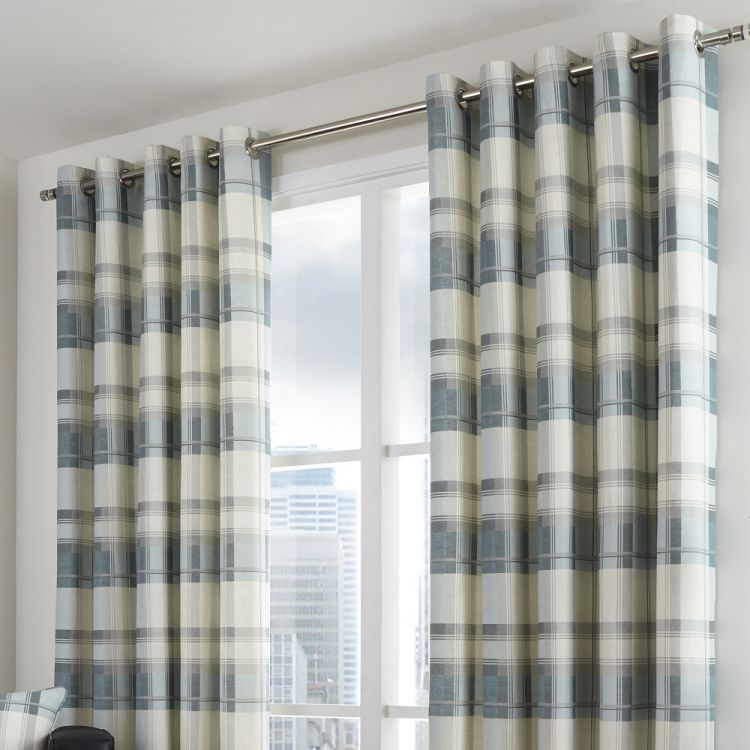 Eyelet Curtains Check Teal Blue Tonys Textiles