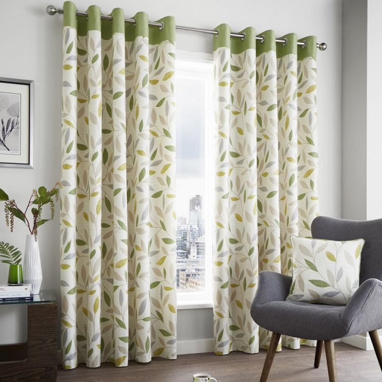 Beechwood Lined Curtain Panels With Leaf Print Grommet