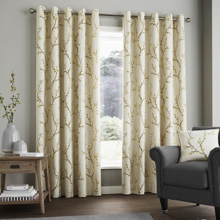 Hemsworth Floral Fully Lined Eyelet Curtains Yellow
