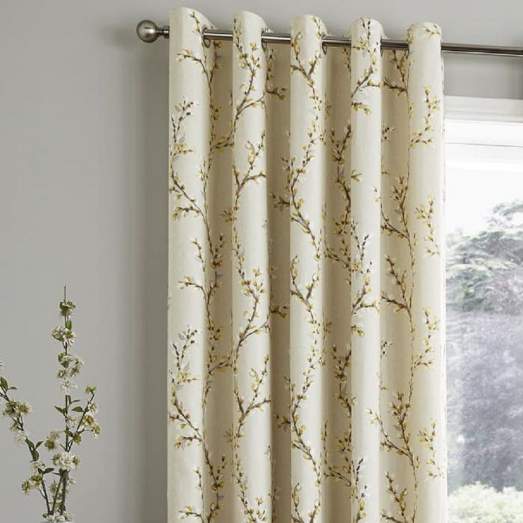 bedroom floral ombre polycotton print blend p vintage poly yellow cotton curtains