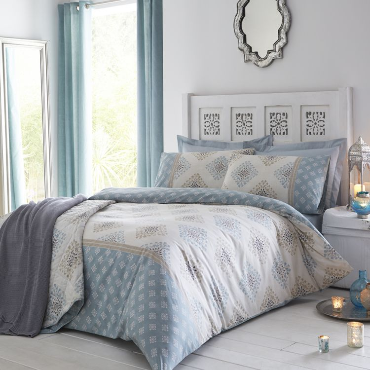 Indra Duck Egg Blue Reversible Duvet Cover Set