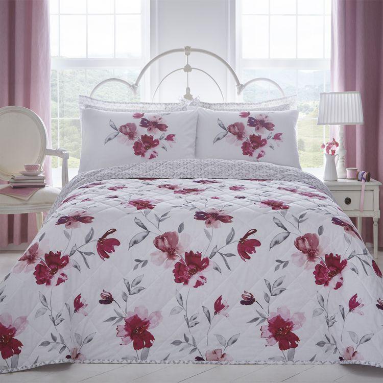 Celestine Floral Blush Pink Quilted Bedspread