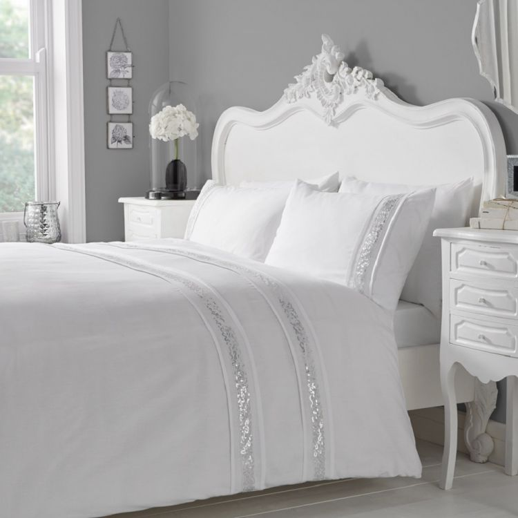 luxury glance duvet cover set white silver tonys textiles. Black Bedroom Furniture Sets. Home Design Ideas