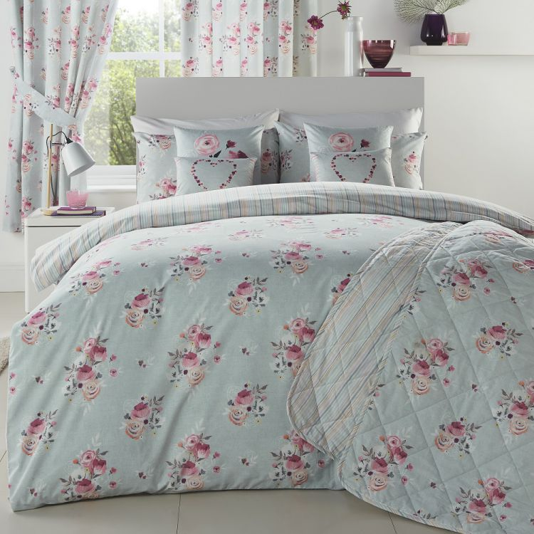Penelope Floral Striped Reversible Duck Egg Blue