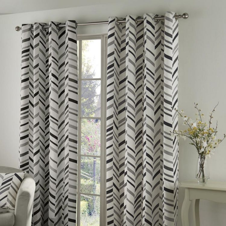 cream and curtains woven black with pattern curtain decofurnish