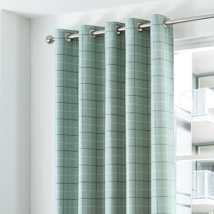 Duck Egg Blue Stripe Check Lined Eyelet Curtains