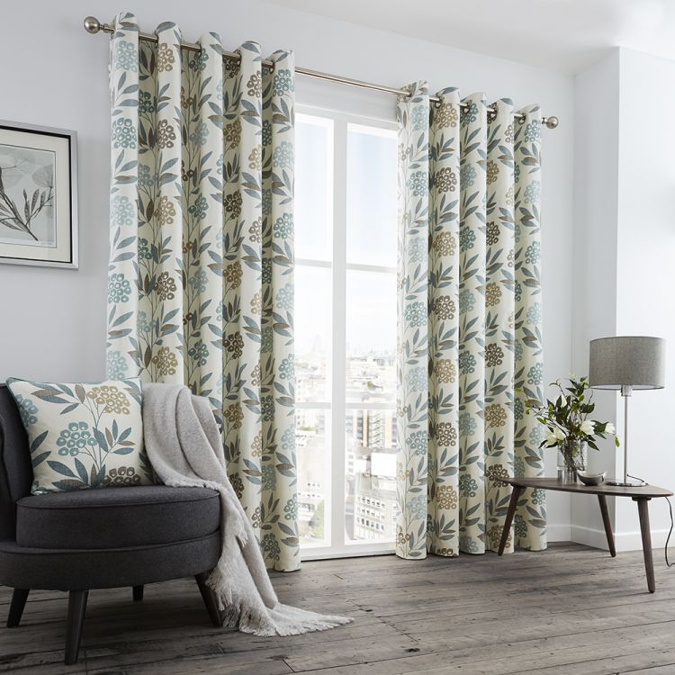 Floral Fully Lined Curtains Teal Blue Tonys Textiles