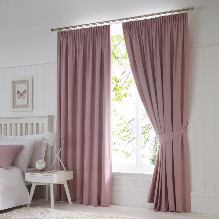 Dijon Thermal Blackout Tape Top Curtains Pink