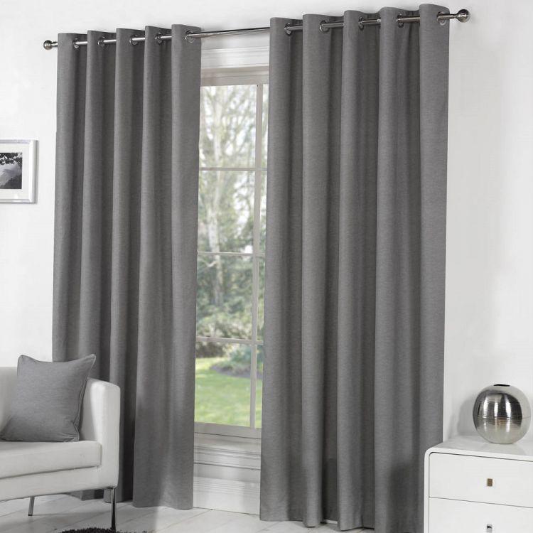 Sorbonne Eyelet Curtains Charcoal Grey Tonys Textiles