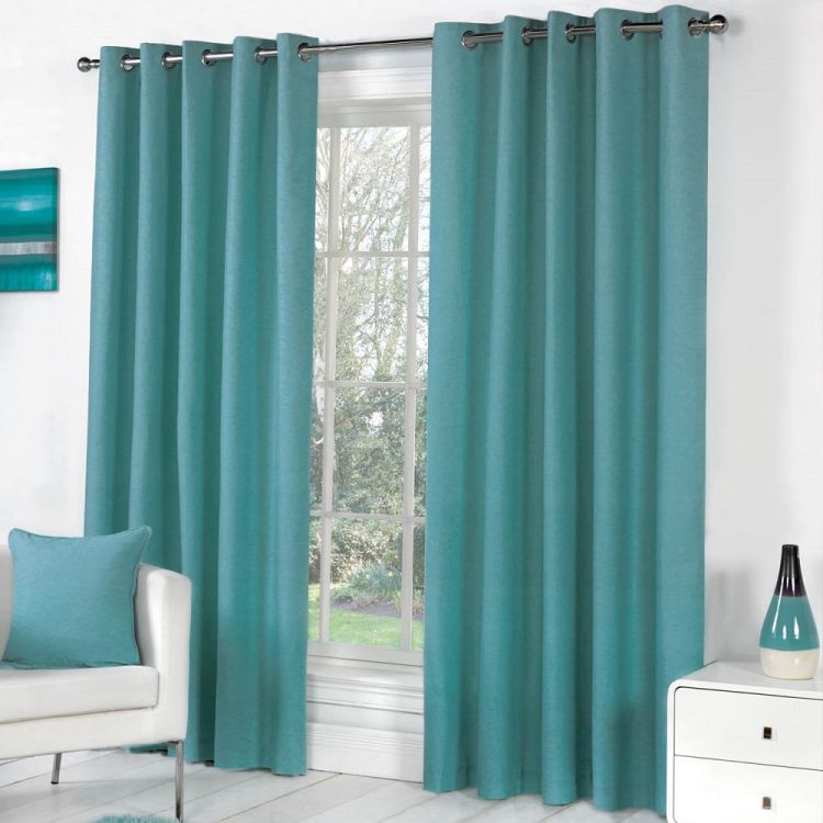 Sorbonne Fully Lined Eyelet Curtains Teal Blue