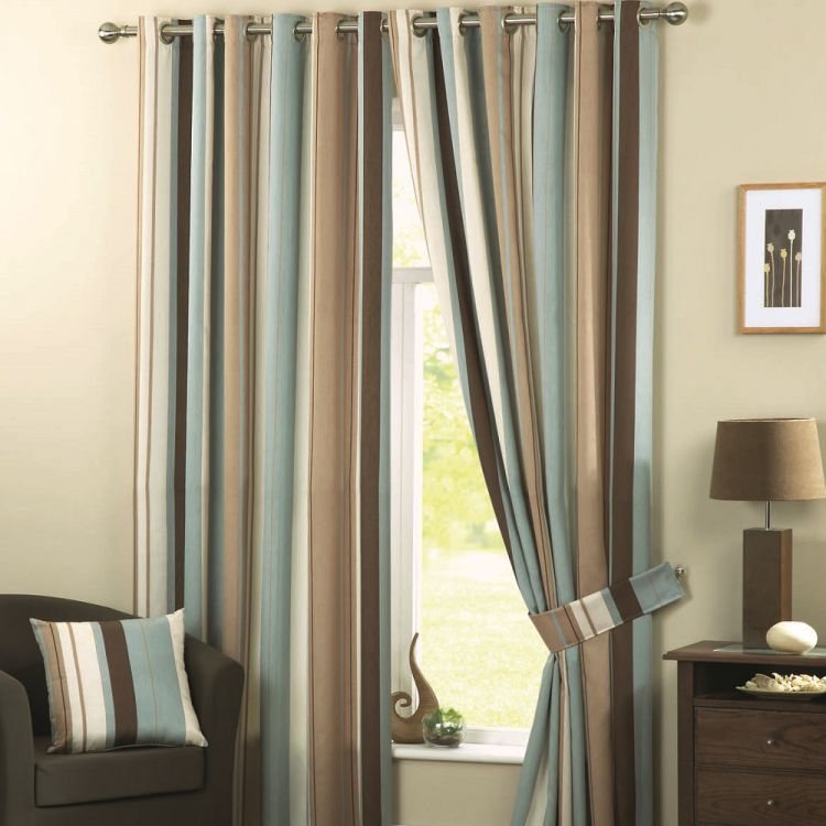 Whitworth Striped Fully Lined Eyelet Curtains Duck