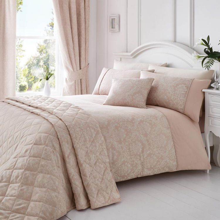 Laurent Jacquard Quilted Bedspread Pink Tonys Textiles