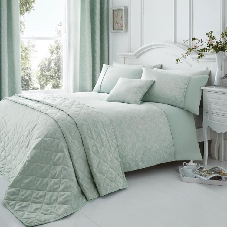 Ebony Floral Cotton Rich Duck Egg Blue Duvet Cover