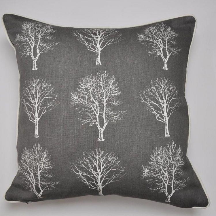 Woodland Trees Cushion Cover Charcoal Grey Tonys