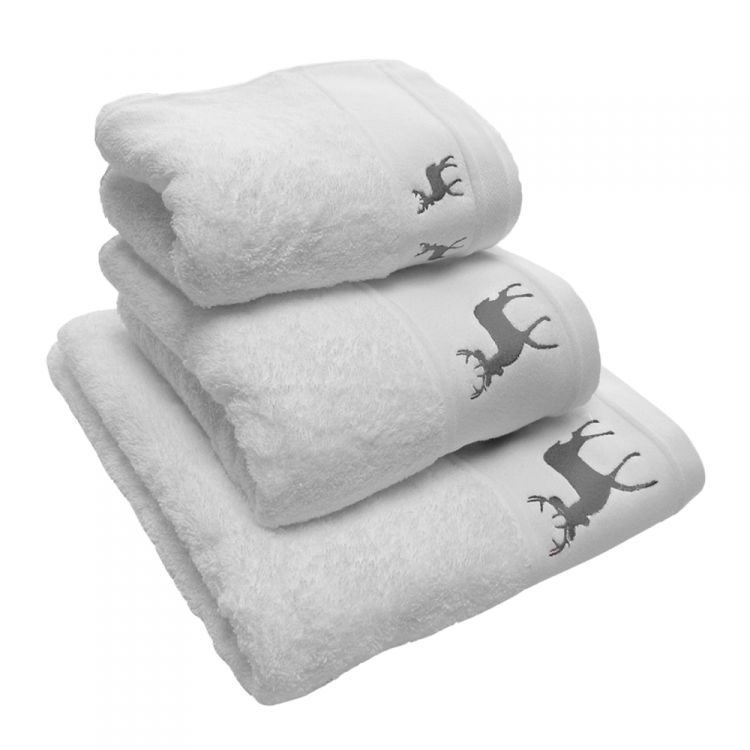 Reindeer Stag 100 Cotton Supersoft Towel White Grey