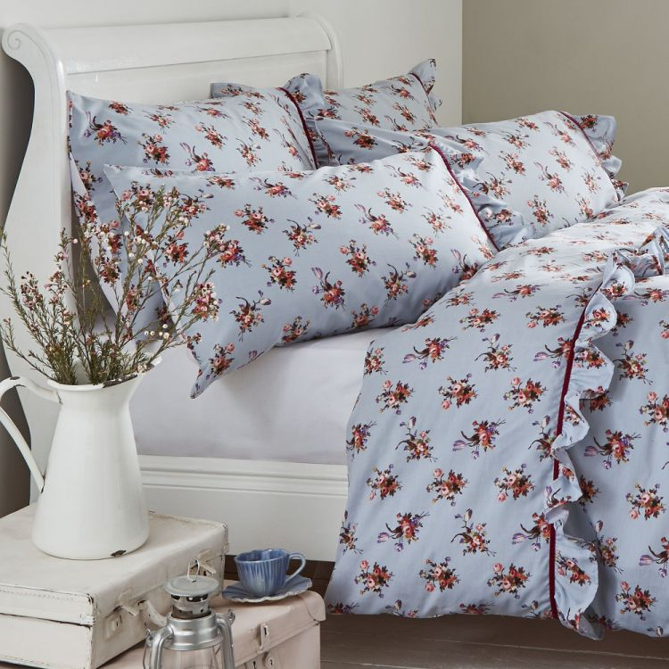 Vintage Floral Reversible Duvet Cover Set Blue