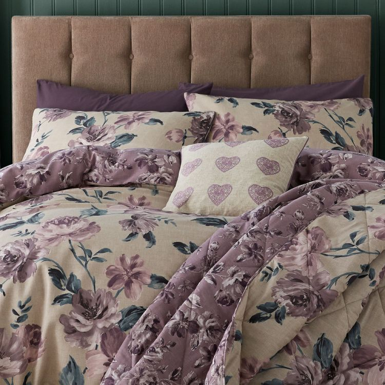 Painted Floral Reversible Duvet Cover Set Plum