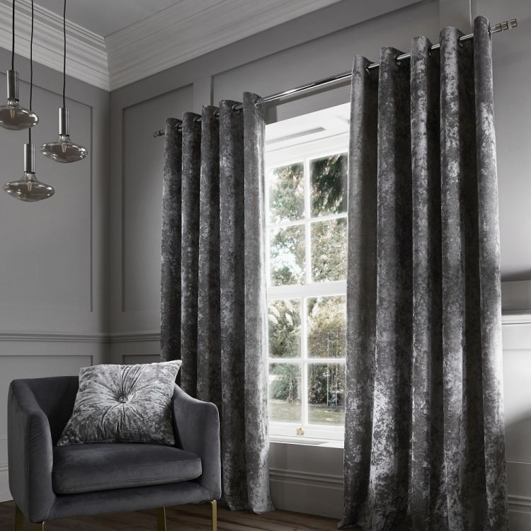 Pair Of Luxury Crushed Velvet Lined Window Curtains With